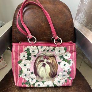 Isabella Fiore pink Shih Tzu dog beaded bag
